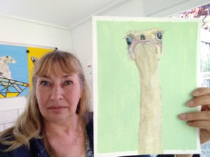 Ostrich painted in Acrylics on paper by JayneK