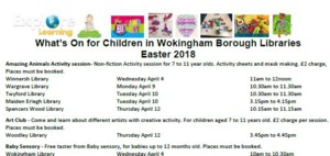 Click for Wokingham Borough's libraries Easter 2018 events guide